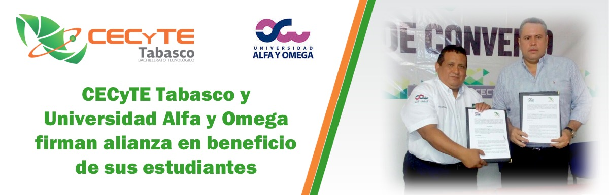 CECyTE Tabasco y Universidad Alfa y Omega firman alianza en beneficio de sus estudiantes